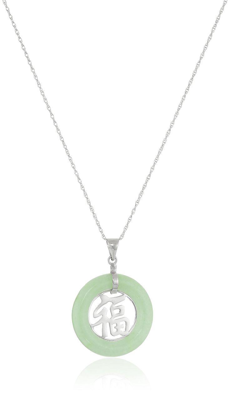 Rhodium-Plated Sterling Silver Green Jade Asian Script