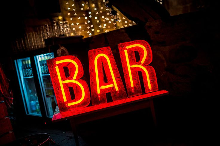 Bespoke neon bar sign. Cotton and Beau. Creative wedding styling & prop shop.