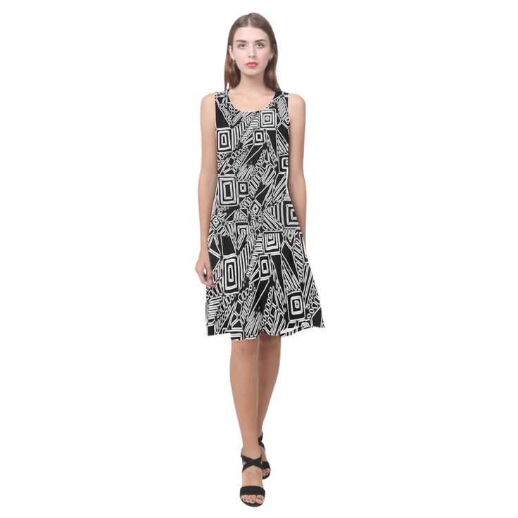 Optical Illusion, Black and White Art Sleeveless Splicing Shift Dress(Model D17)