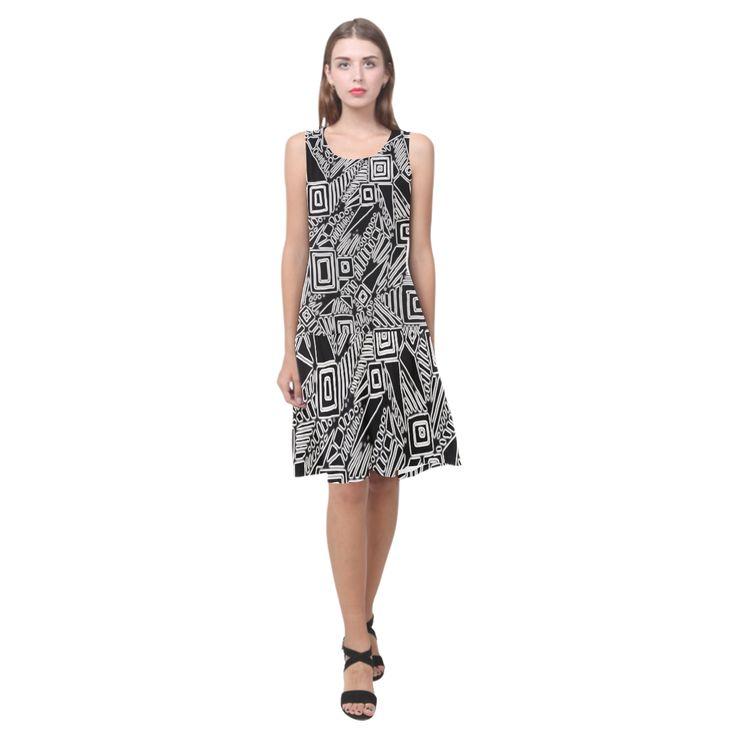 Optical Illusion, Black and White Art Sleeveless Splicing Shift Dress(Model D17)