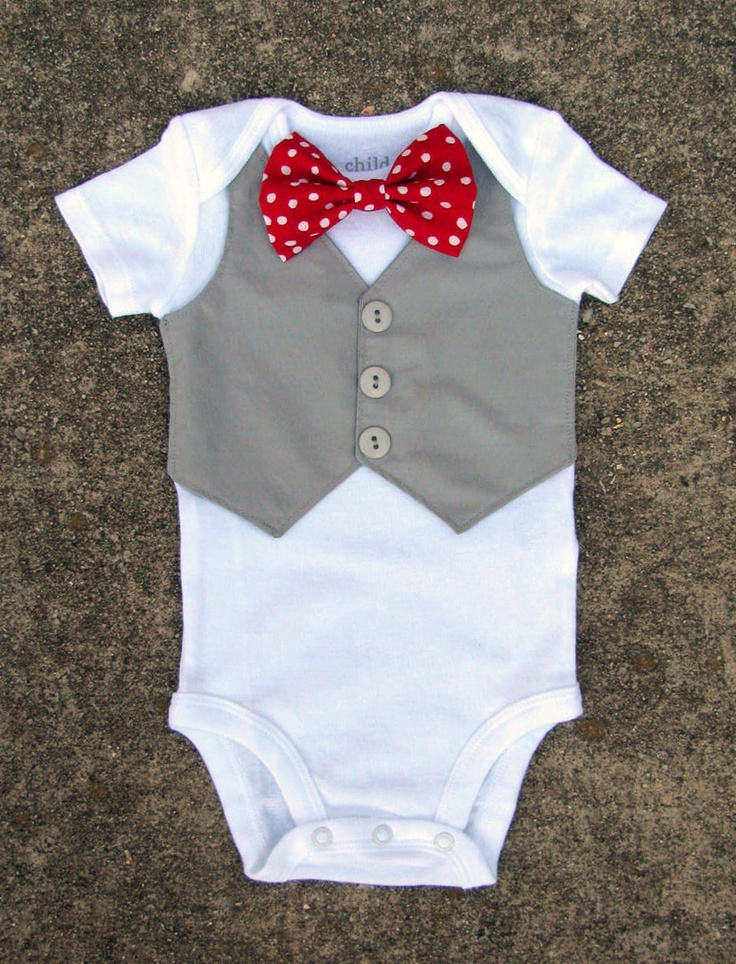 Baby Boy Christmas Shirt - Custom Tuxedo Onesie or Tshirt - Polka Dot Red Bow tie - ANY COLOR Vest and buttons - Perfect Christmas Outfit
