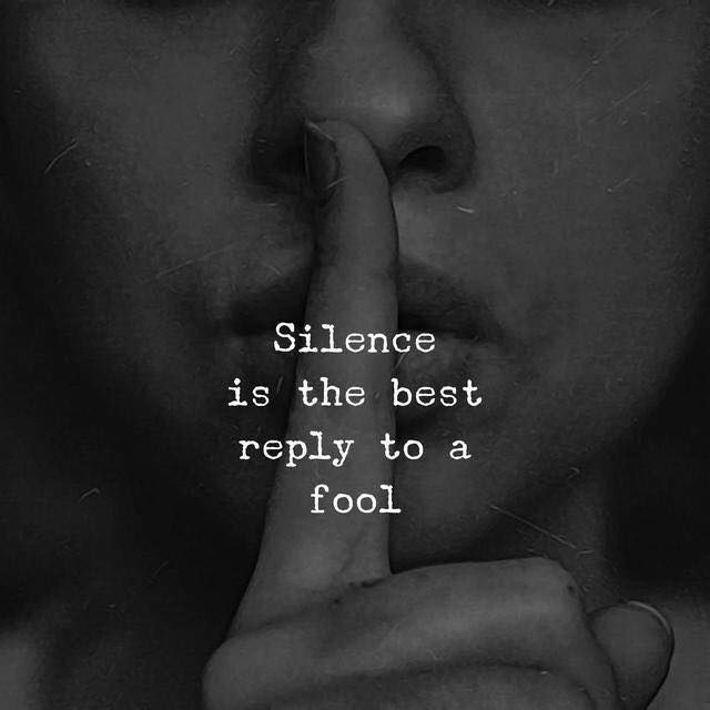 Silence is the best reply to a fool   | Other people's
