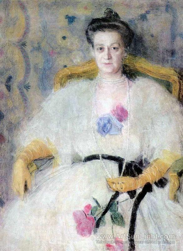 Aleksandr Golovin (Russian, 1863-1930) - Portrait of M.V. Voejkova