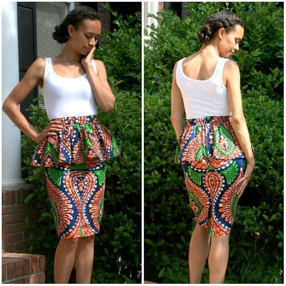 African print peplum skirt by MelangeMode on Etsy, $85.00