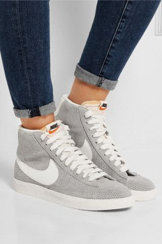 Nike | Blazer perforated suede high-top sneakers | NET-A-PORTER.