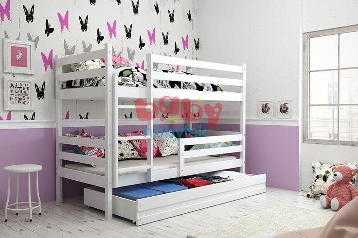 Dětská patrová postel Erika bílá 190x80cm - Dětské patrové postele