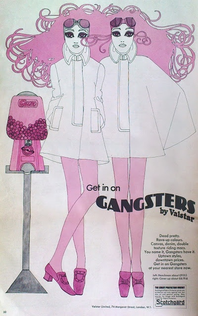 Vintage 60s Retro full page illustrated print art fashion ad from the first issue of Intro magazine 1967