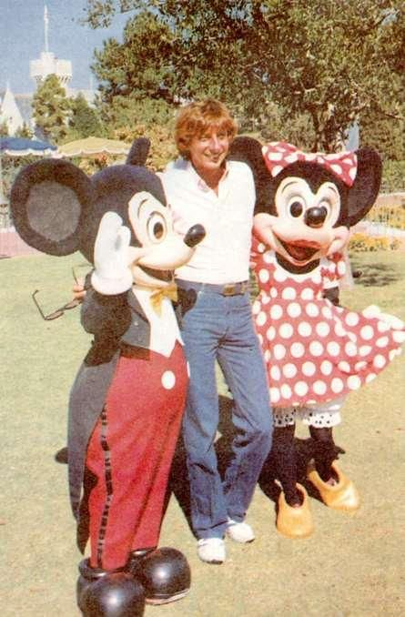 Mickey Mouse, Barry Manilow and Mini Mouse.