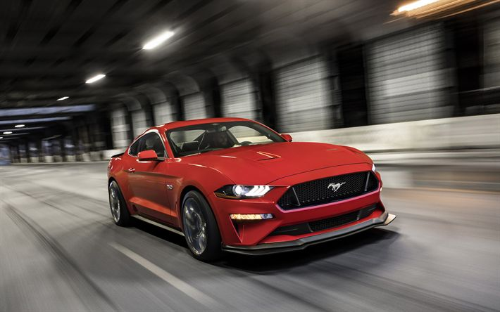 Download wallpapers 2018, Ford Mustang GT, Performance Package, Level 2, red sports car, road, speed, tuning Mustang, sports coupe, American sports cars, Ford