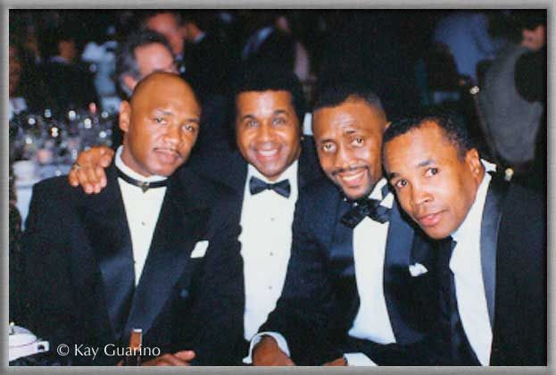 Legends!!!! From left to right: Marvin Hagler, Emanuel Steward, Thomas Hearns, and Sugar Ray Leonard.