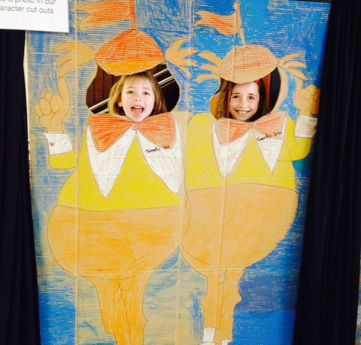 Alice in Wonderland. Tweedle Dee and Tweedle Dum cardboard cut outs. Pastel. For Art Show Photo Booth.