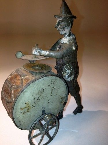 VERY RARE ANTIQUE TIN TOY 1890'S FLY WHEEL Driven CLOWN by FV