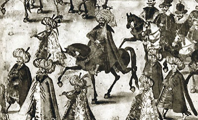 Persian Ambassador during his entry into Kraków for the wedding ceremonies of King Sigismund III of Poland in 1605.