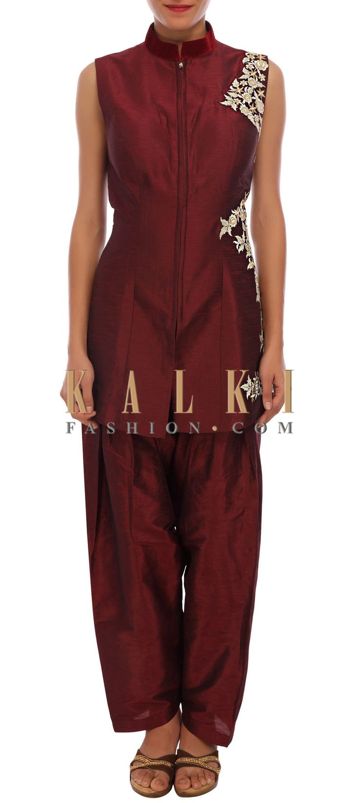Buy Online from the link below. We ship worldwide (Free Shipping over US$100) http://www.kalkifashion.com/maroon-raw-silk-suit-embellished-in-zari-embroidery-only-on-kalki.html