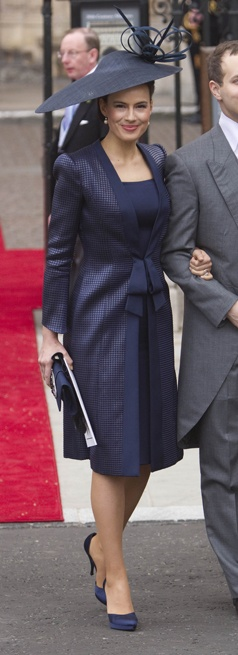 Actress and wife of Lord Frederick Windsor, Sophie Winkleman, looked resplendent in a Giorgio Armani outfit and Philip Treacy hat.