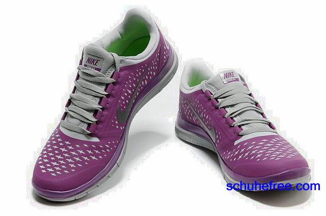 Damen Nike Free 3.0 V4 Schuhe Grau Lila