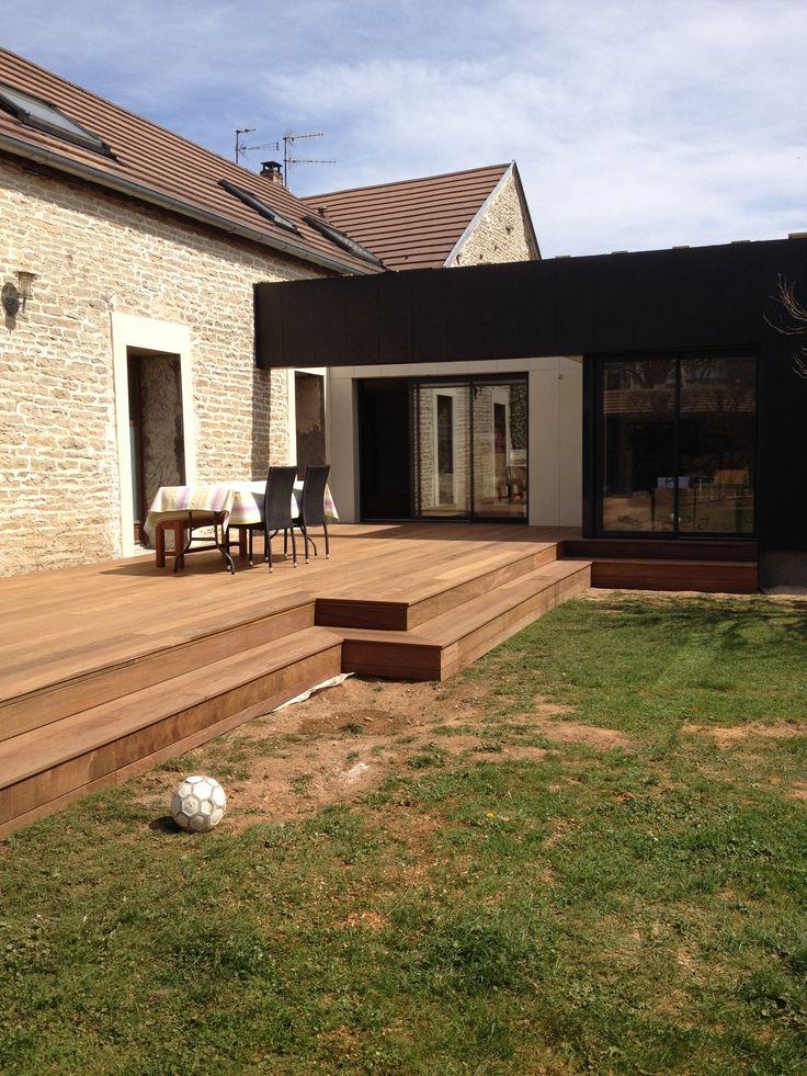 agrandissement en structure bois bardage zinc noir et blanc architecte paul godart dijon. Black Bedroom Furniture Sets. Home Design Ideas