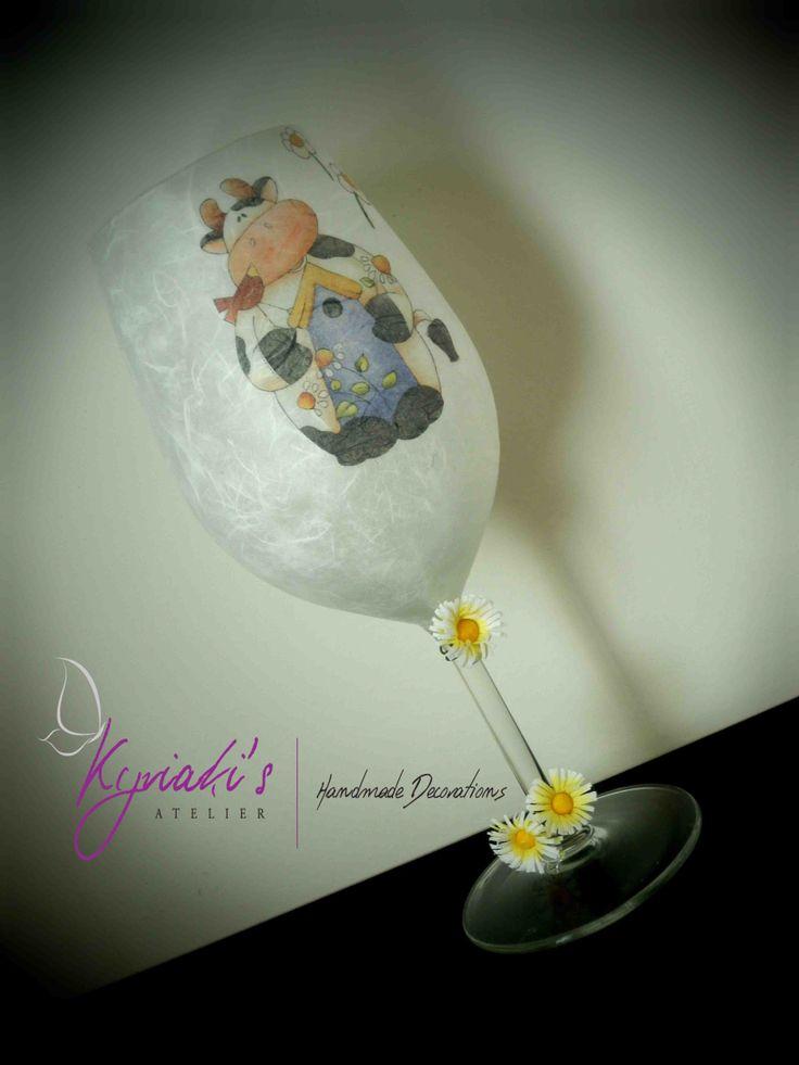 "My handmade Glass Candleholder ""Easter Cow"" by Kyriaki's Atelier"