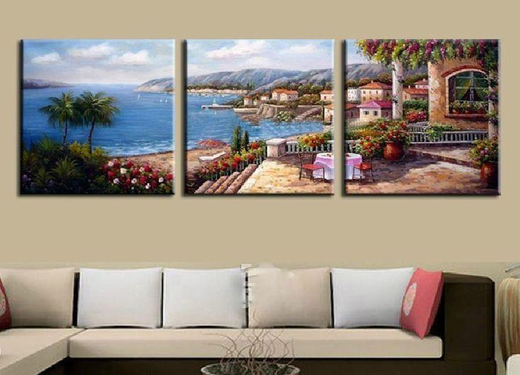 Mediterranean landscape sea canvas wall art decor Framed UNframed