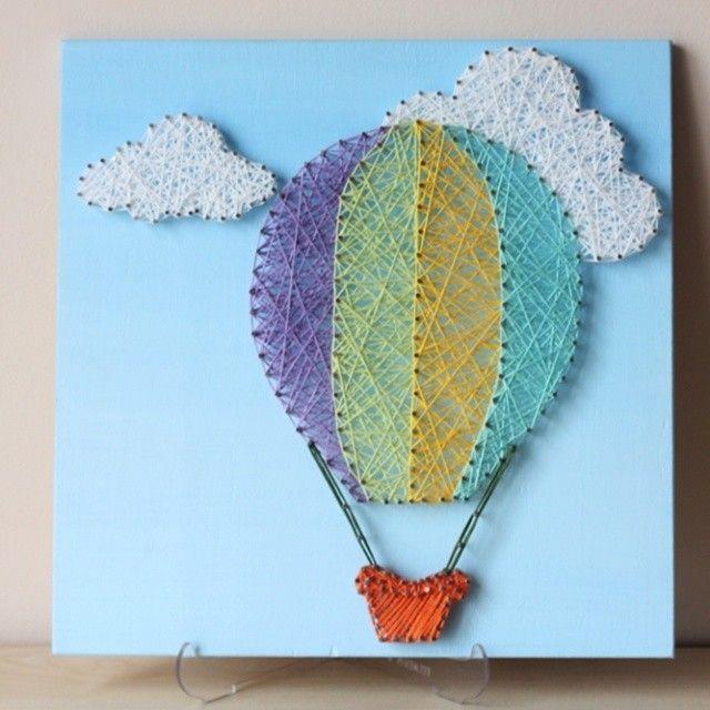 Hot Air Balloon String Wall Art for nursery room