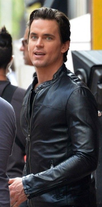 Matt Bomer Spotted Looking Rocker Cool in Leather Jacket at White Collar Season 5 New York
