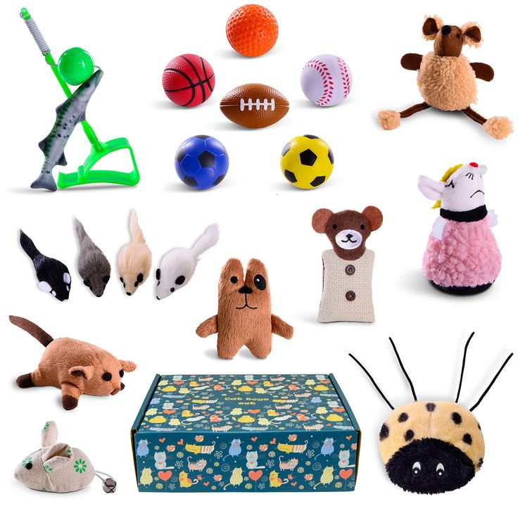 Cat toys set 18pcs in cat toy box for gift pet toys