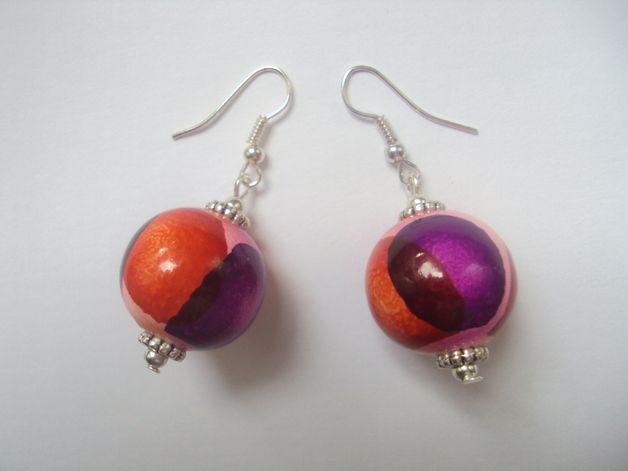 WOODEN BALLS 1 - earrings