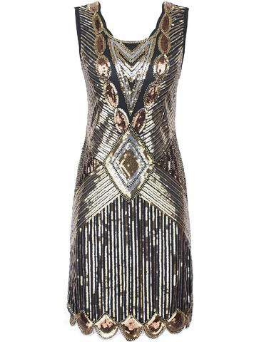 SERINA Sequin 20's Inspired Dress - Gold Silver