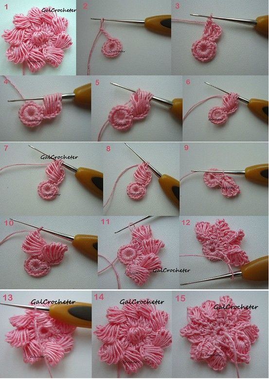 cool crochet flower and interesting technique indeed! ❥Teresa Restegui http://www.pinterest.com/teretegui/❥