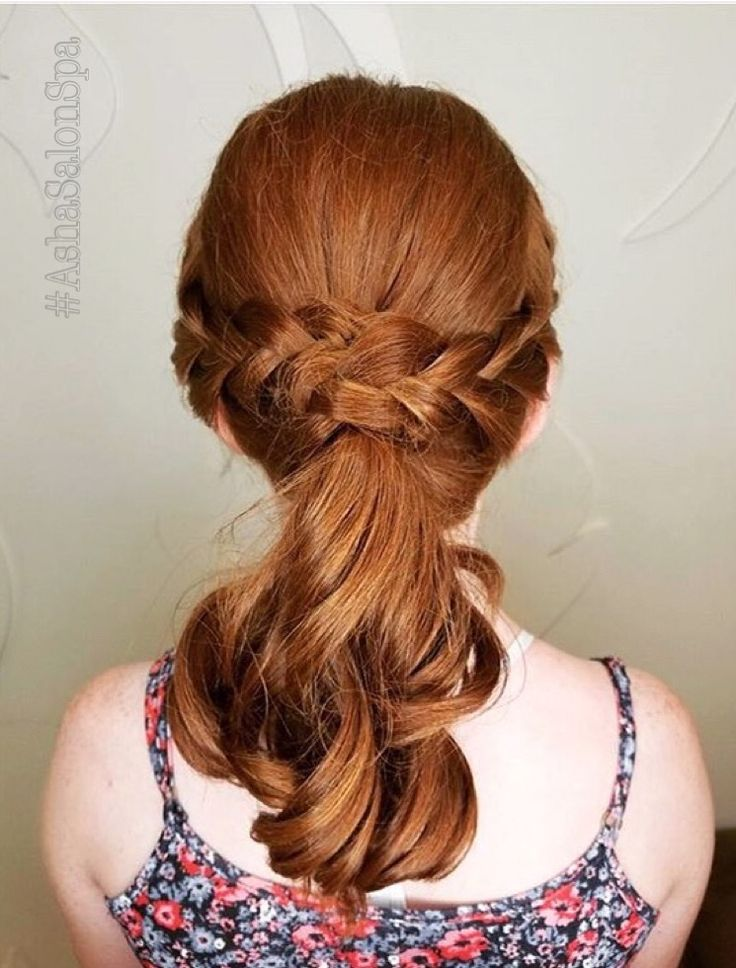 Elegant curled low-ponytail with a crown braid. Style by Kim at #asharockford. #ashasalonspa