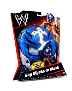 WWE Wrestling Rey Mysterio Mask - Blue, White Cross & Black Trim