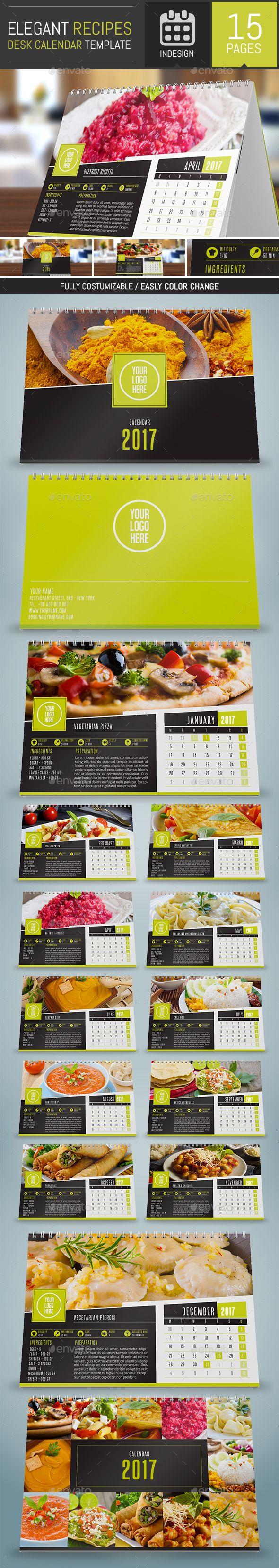 Elegant Recipes 2017 Desk Calendar Template - Calendars Stationery