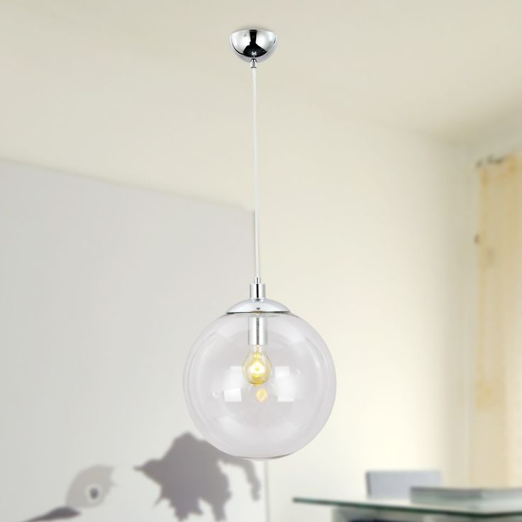 UNITARY BRAND Vintage Clear Glass Shade Globe Pendant Light Max 60W with 1 light Chrome Finish