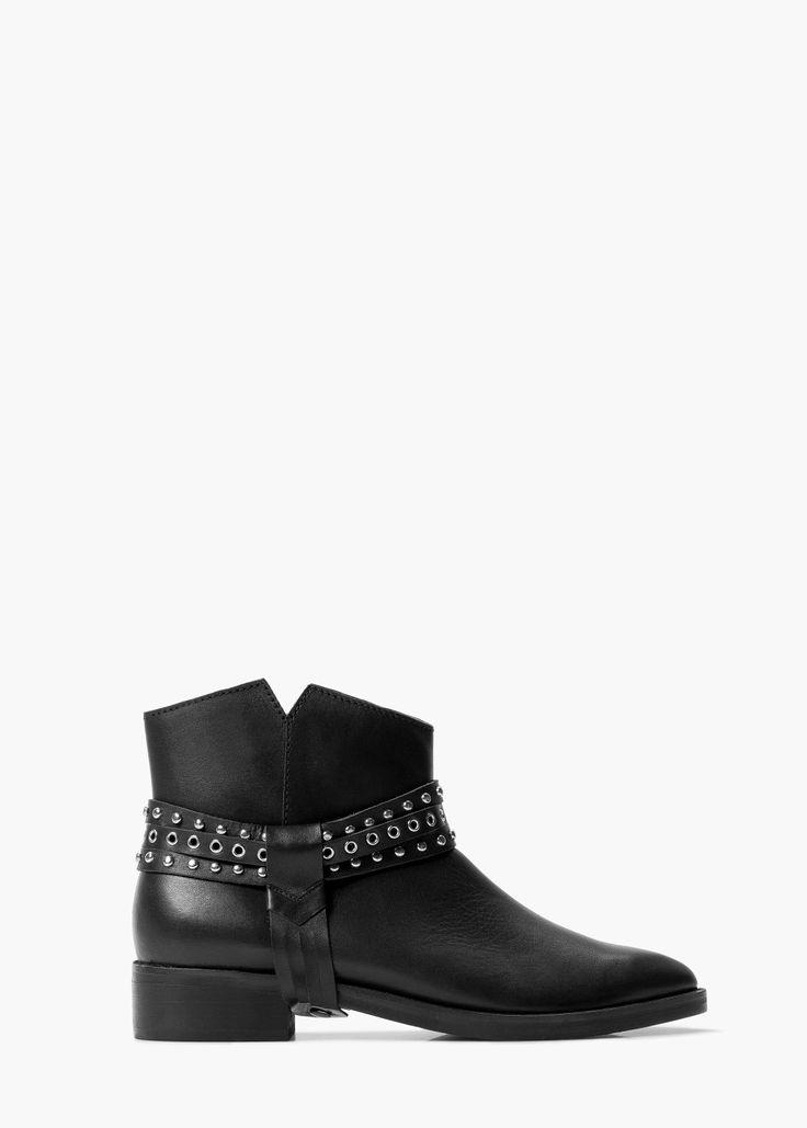 Bőr bokacsizma szegecsekkel - Cipők for Női | MANGO