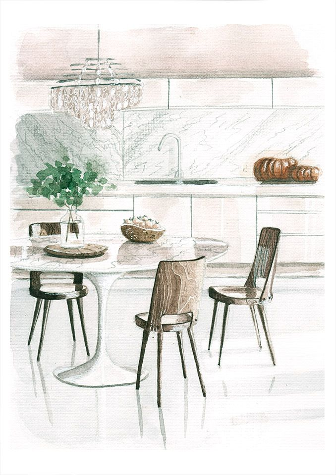 Watercolor sketch of a dining table and chandelier
