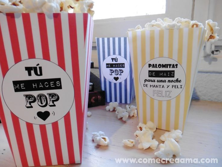 Recetas fáciles, manualidades y DIY: DIY: Cajas para palomitas Pop Corn, Diy, Printables, Blog, Create, Party, Menu, Hollywood, Fitness