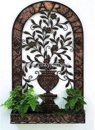 Large Horchow Outdoor Ornate Wall Planter Metal Flower Pot