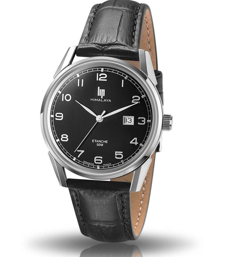 montre lip himalaya 40 mm quartz cuir noir cadran noir chiffres garantie 2 ans 671231