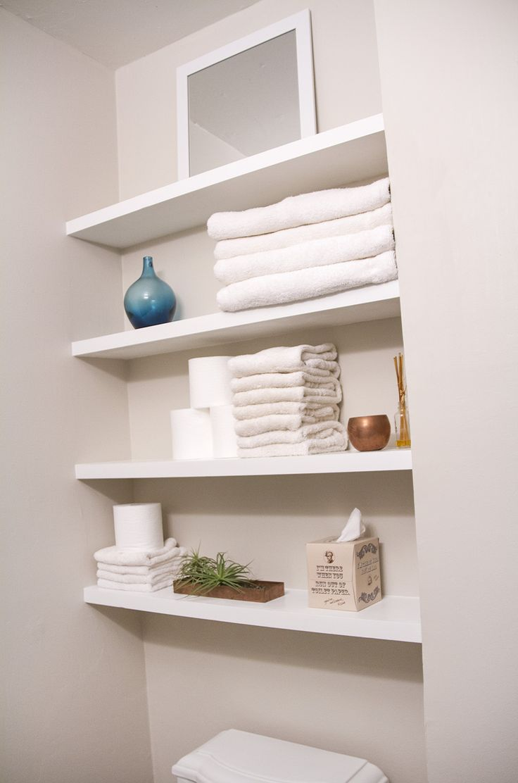 SwingNCocoa: DIY floating shelves in a tiny bathroom. Simple pocket-hole hanging solution