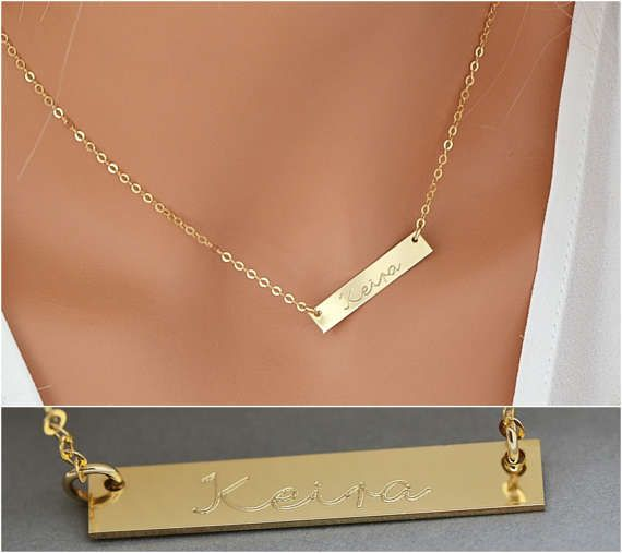 Check out Gold Name Necklace Bar, Bar Necklace,Pesronalized Delicate Bar Necklace gold, Siolver, Rose Gold, Initial Necklace,Gift For Her, 5x30 on goldenbijoux