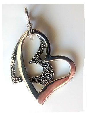two heart silver pendant