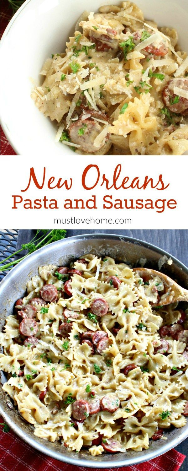 New Orleans Style Smoked Sausage Alfredo is a delicious combination of sausage, pasta, cream, Parmesan cheese, Cajun seasonings and garlic. This AMAZING addictive dish is super simple to make and can be on your table in less than 15 minutes.