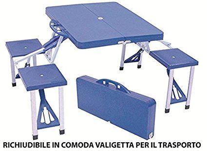 Set completo valigetta tavolo con sgabelli pieghevole blu per pic nic campeggio