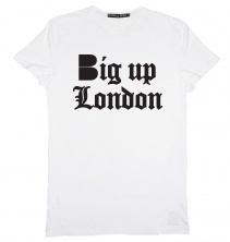 B-side Big Up London Mens tee white with black  £30.00