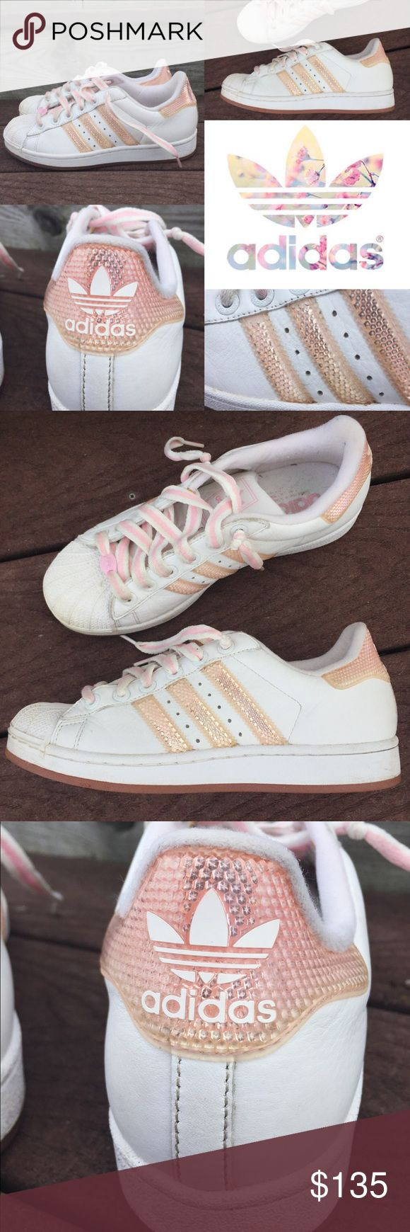 Rare Adidas superstar pink reflective stars Rare and awesome adidas superstars with pale pink reflective stripes and back. Inside the reflective color are teeny tiny stars. These are super cool! Worn only a few times and look great. No spots, stains or issues. Soles are not worn at all. Size 7.5  I'm told they're vintage but I believe they're from 2003. Spent the past 13 years in a closet waiting to be let out! Adidas Shoes Sneakers