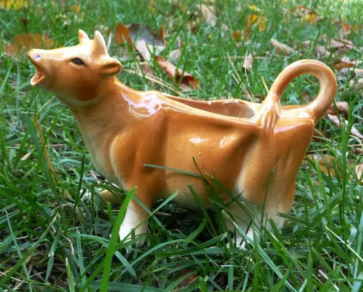 Vintage Cow Creamer Pitcher Brown Japan Milk Cream Ceramic