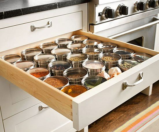 No more messy spice cabinet! More organinzing ideas: http://www.bhg.com/kitchen/storage/organization/storage-packed-cabinets-drawers/?socsrc=bhgpin123013spicedrawer&page=22