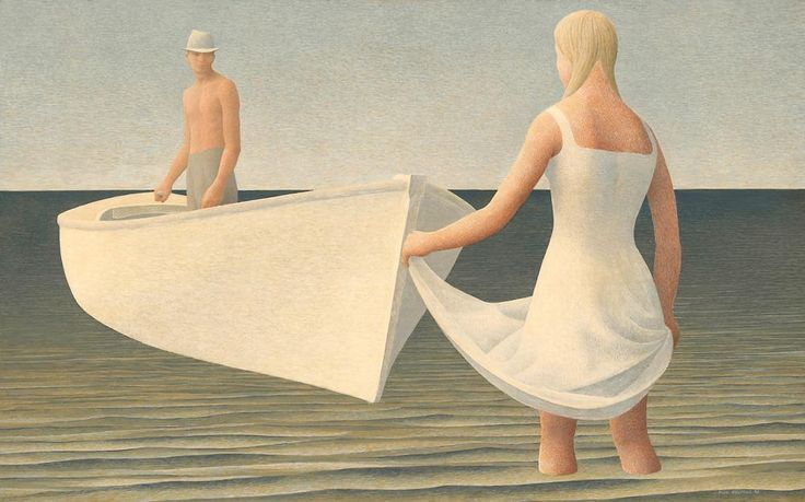 "Alex Colville ""Woman, Man and Boat"" 1952. There are so many contexts to this painting. Yet what I see is man's existential conundrum: to achieve the life we seek, we must depart; to find/keep the love we want we must remain. Yet if we should seek our life's dream wherever the sail should take us, will love be there upon our return? Or if we should choose to remain with love upon the shore, will the dream await us on the other side of decision?"