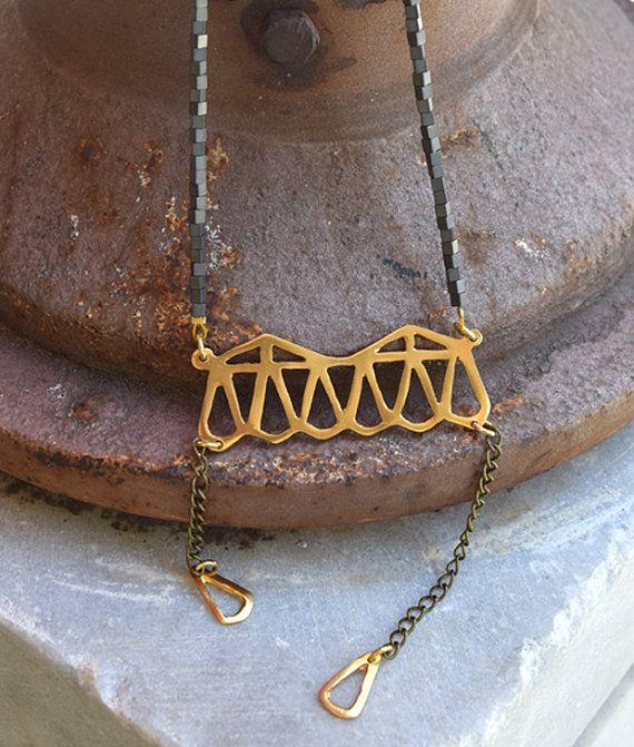 Long Pendant Statement Necklace Hematite Stones  by ARTonomousgr
