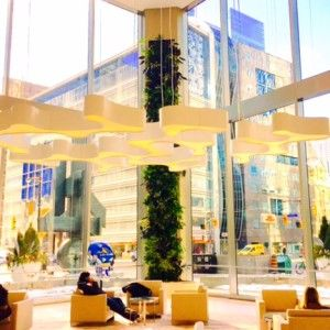"""My new downtown workspace's lobby. Love the green """"living wall"""" portion. www.bonniemunday.com"""